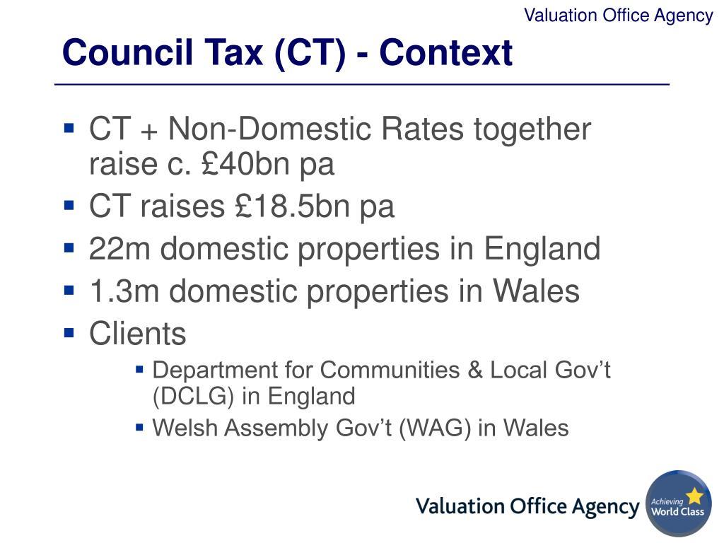 Council Tax (CT) - Context