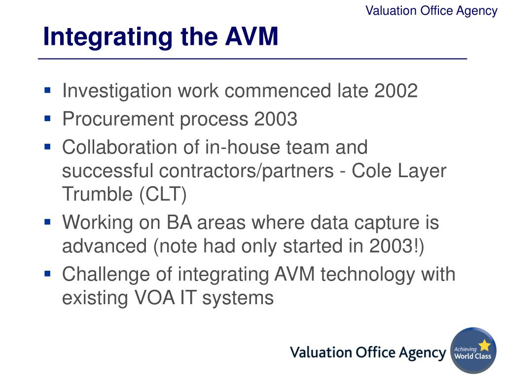 Integrating the AVM