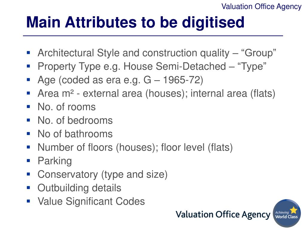 Main Attributes to be digitised