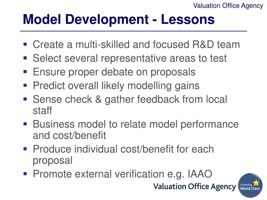 Model Development - Lessons
