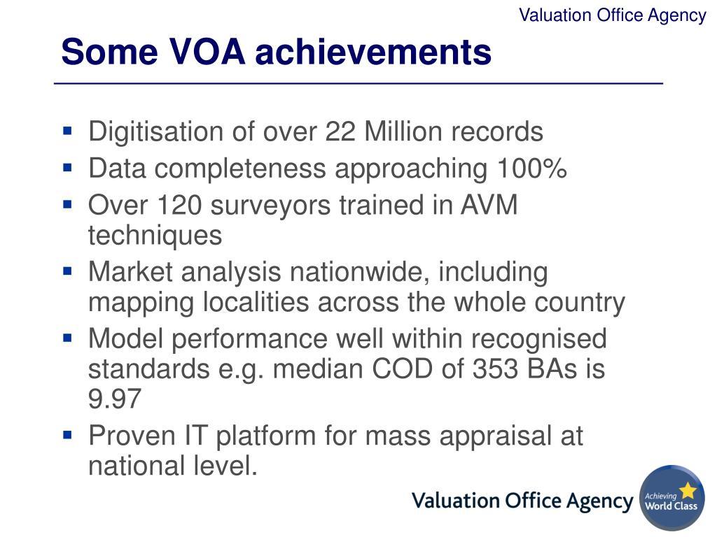 Some VOA achievements