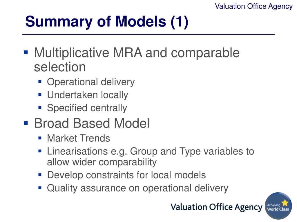 Summary of Models (1)