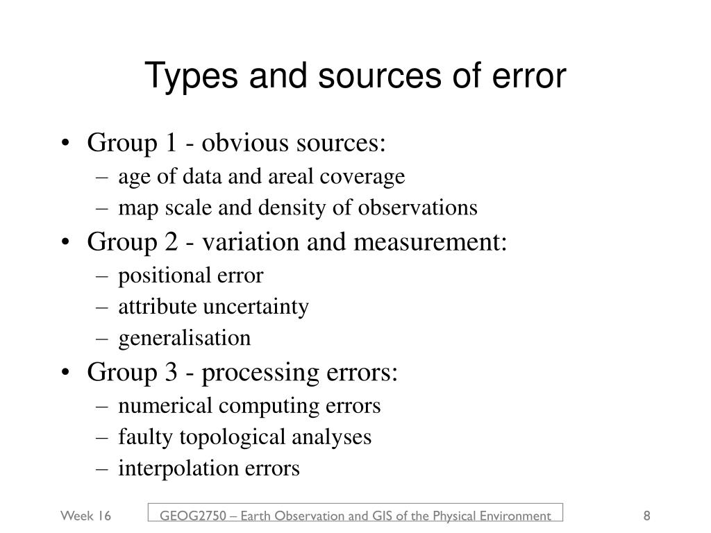 Types and sources of error