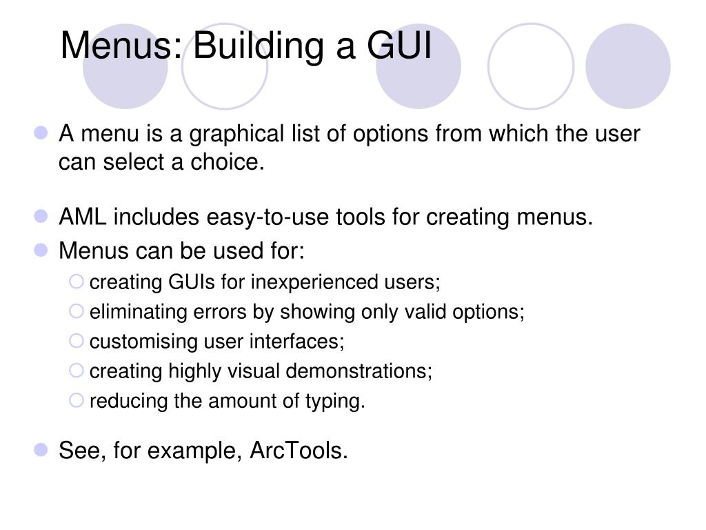 Menus: Building a GUI