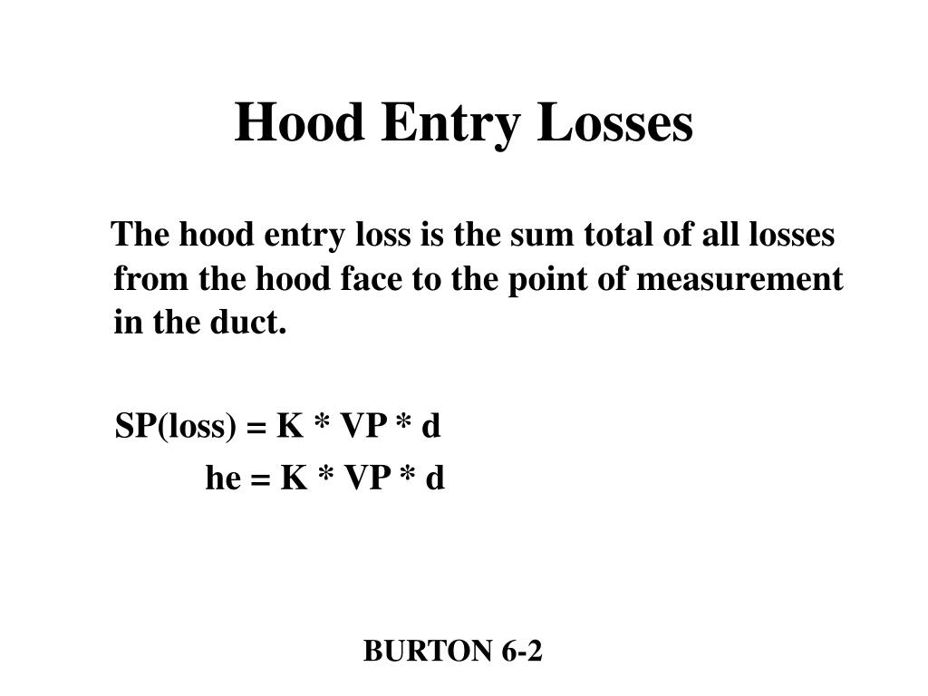 Hood Entry Losses