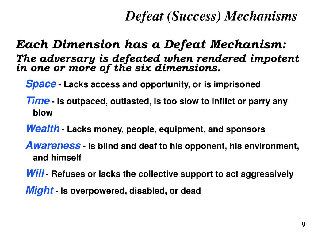 Defeat (Success) Mechanisms