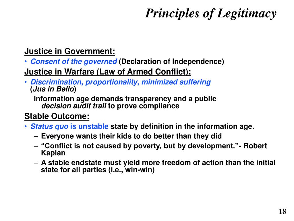 Principles of Legitimacy