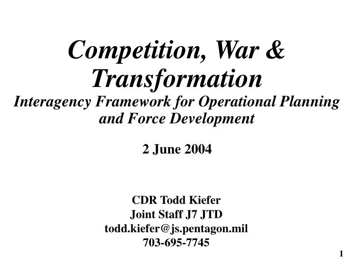 Competition, War & Transformation