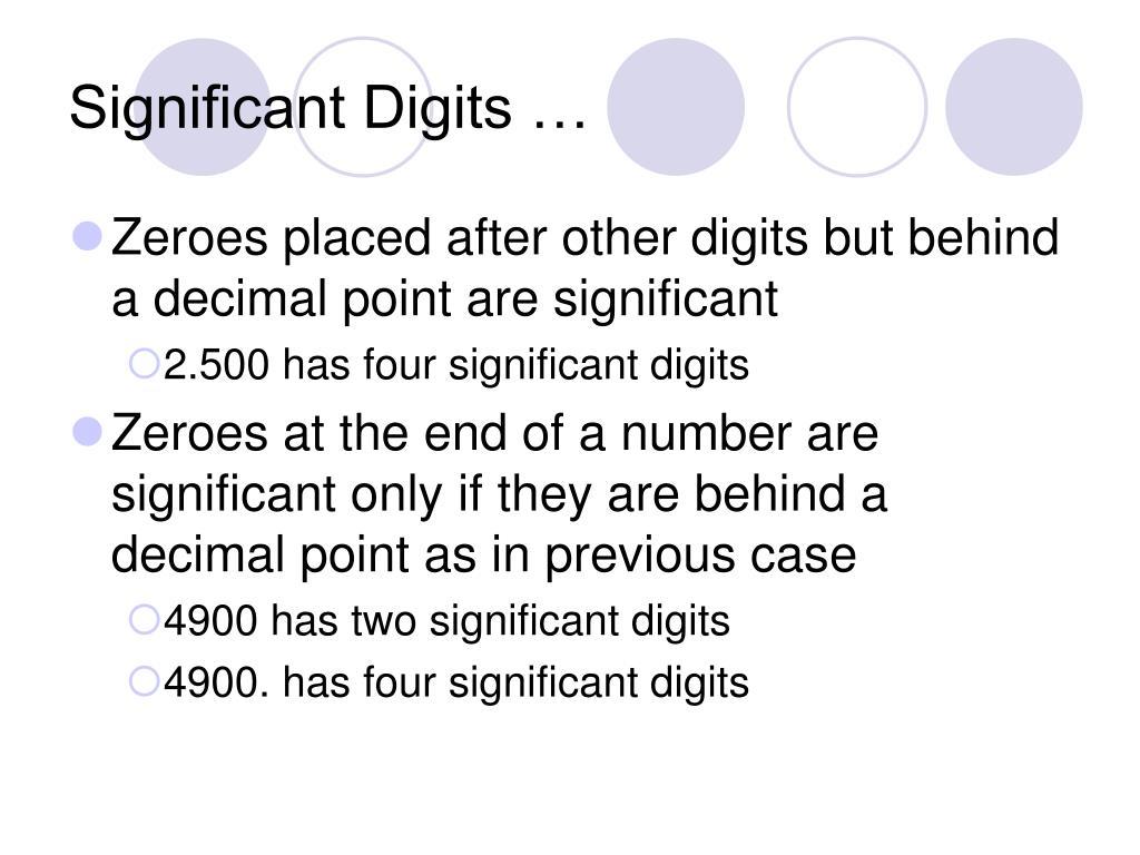 Significant Digits …