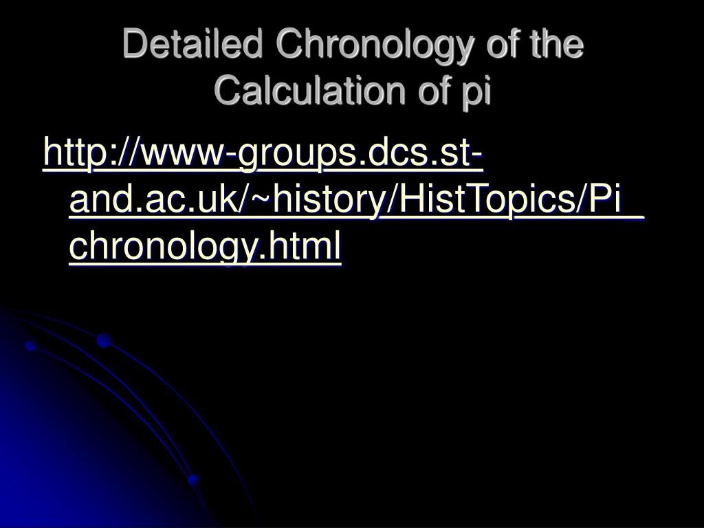 Detailed Chronology of the Calculation of pi