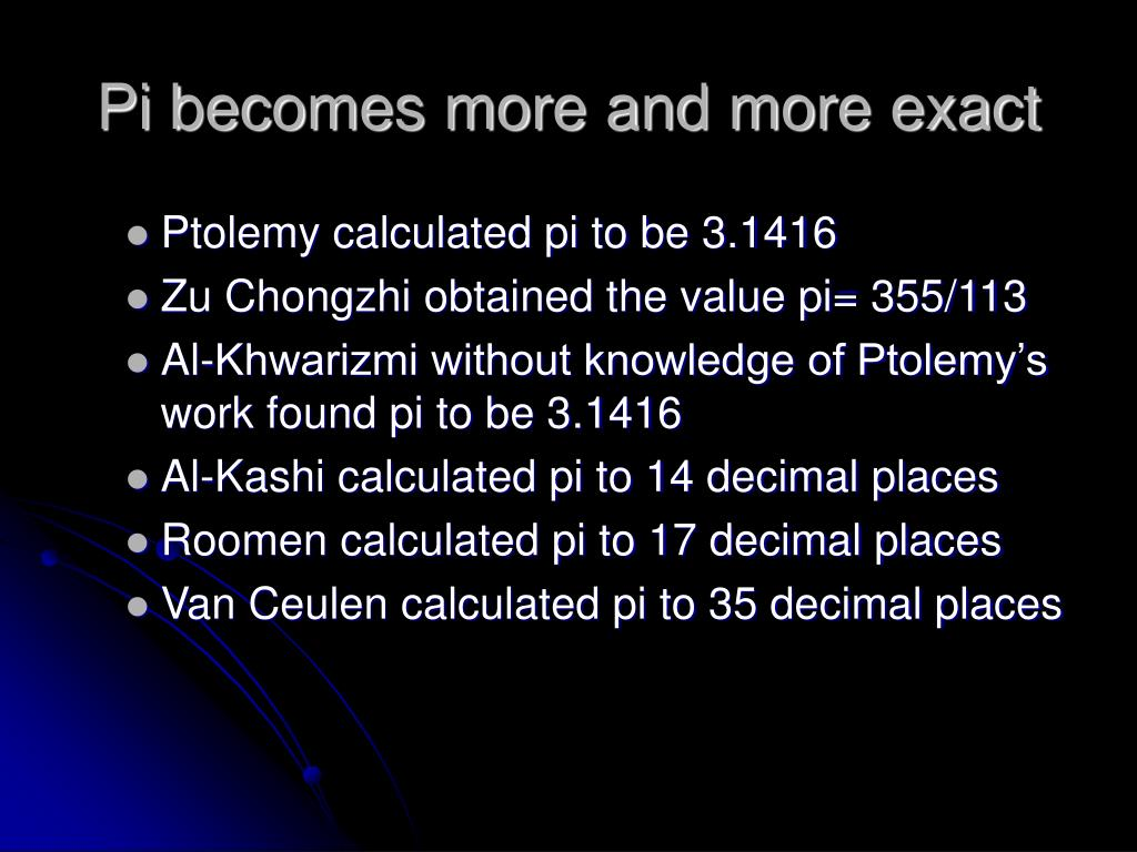 Pi becomes more and more exact