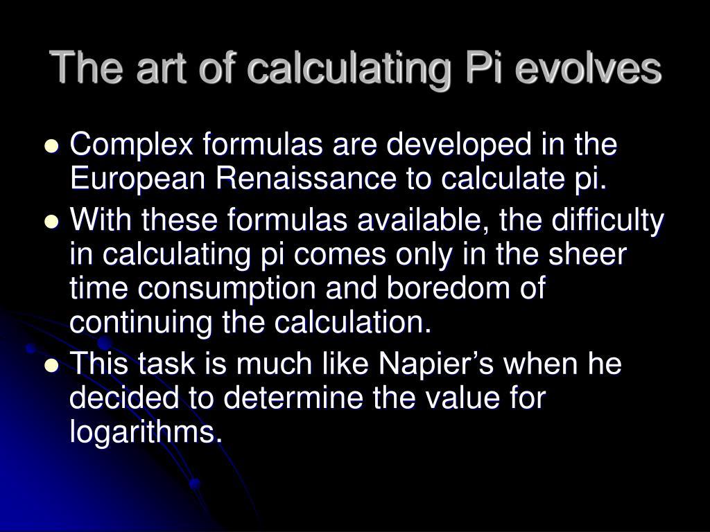 The art of calculating Pi evolves