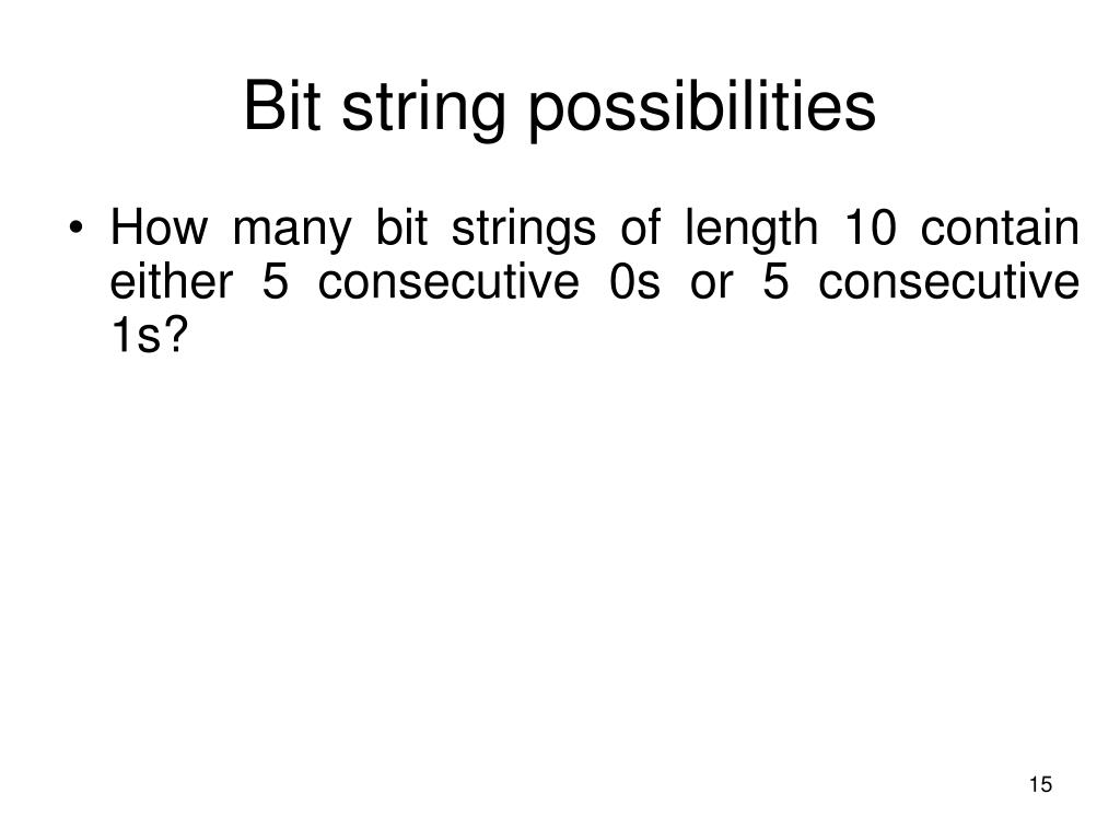 Bit string possibilities