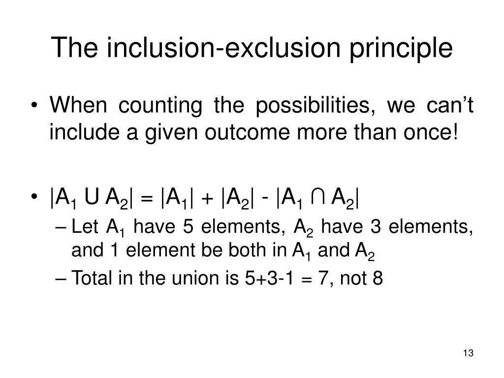 The inclusion-exclusion principle