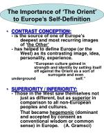 the importance of the orient to europe s self definition