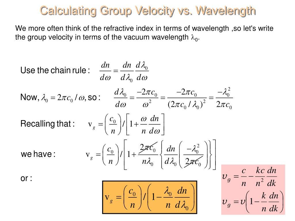 Calculating Group Velocity vs. Wavelength