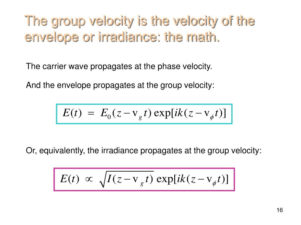 The group velocity is the velocity of the envelope or irradiance: the math.