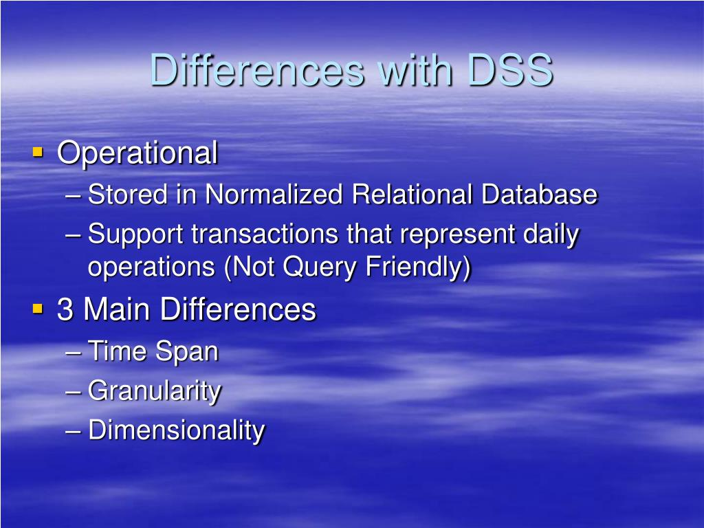 Differences with DSS