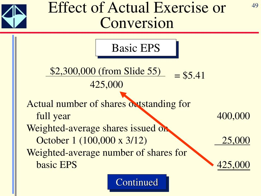 Effect of Actual Exercise or Conversion