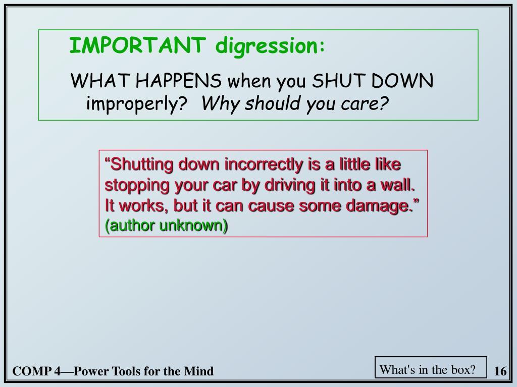 IMPORTANT digression