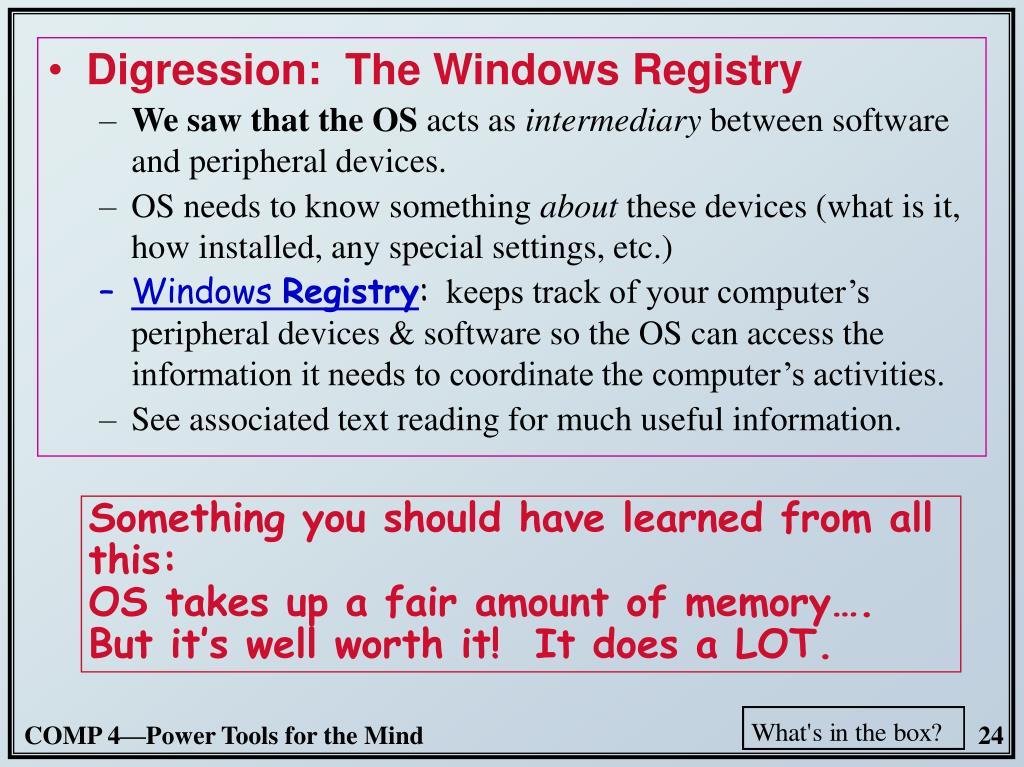 Digression:  The Windows Registry