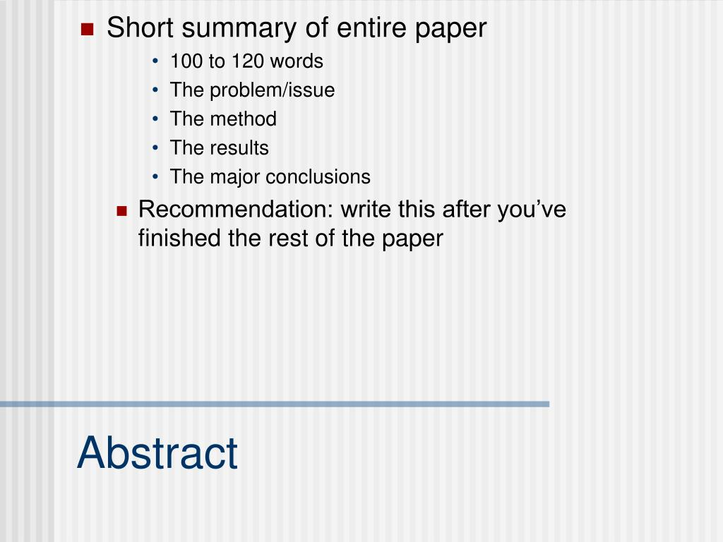 Short summary of entire paper