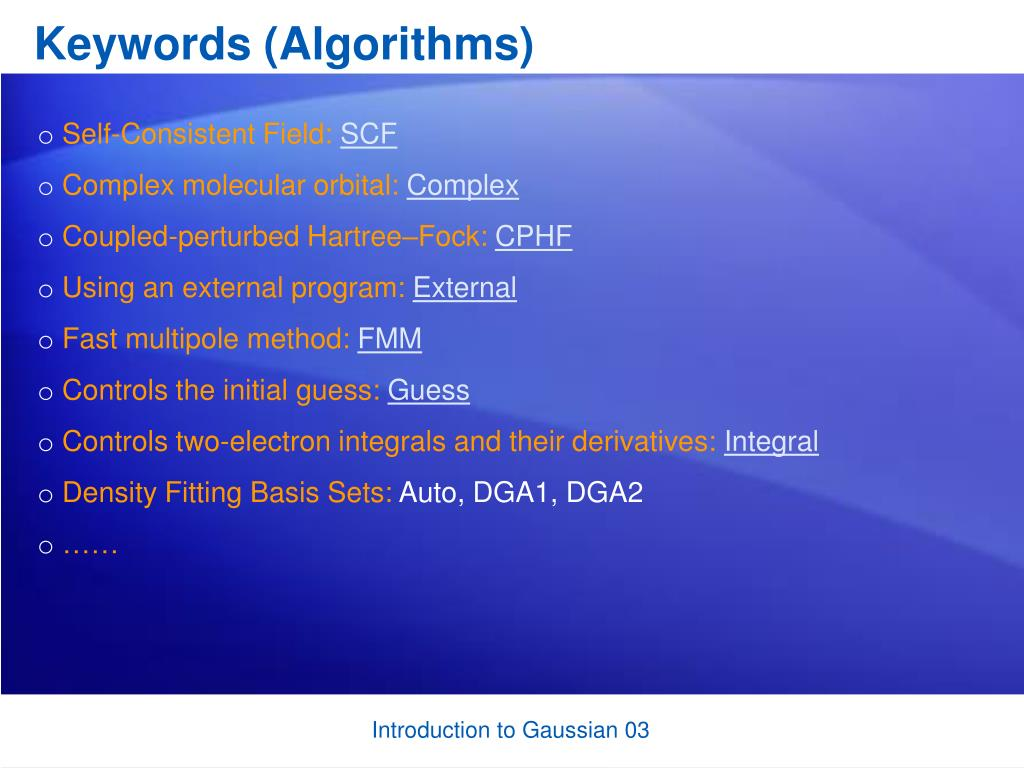 Keywords (Algorithms)