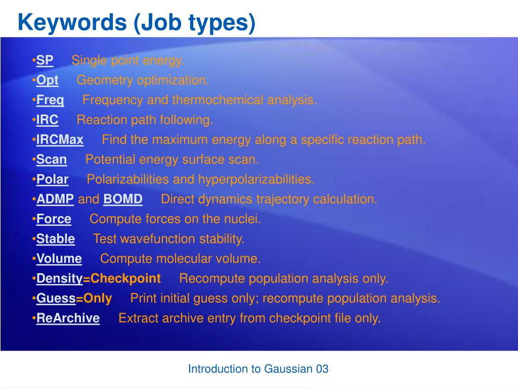 Keywords (Job types)