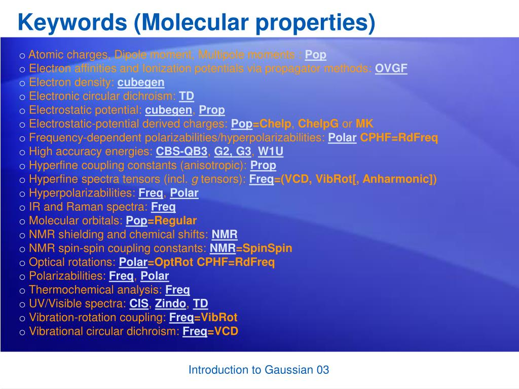 Keywords (Molecular properties)