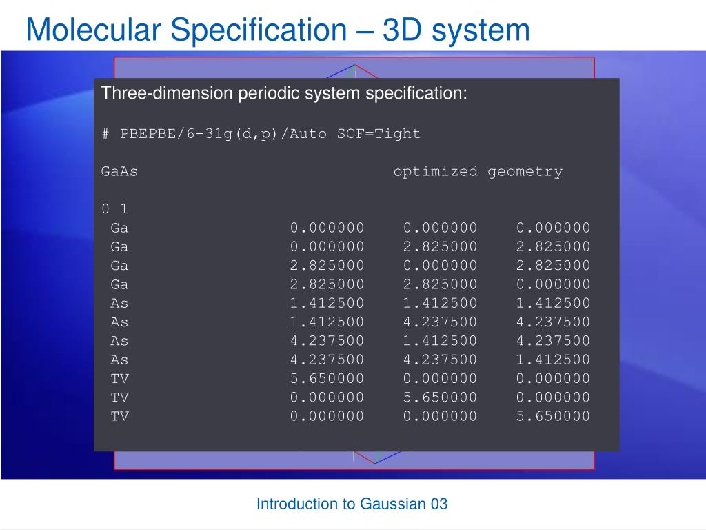Molecular Specification – 3D system