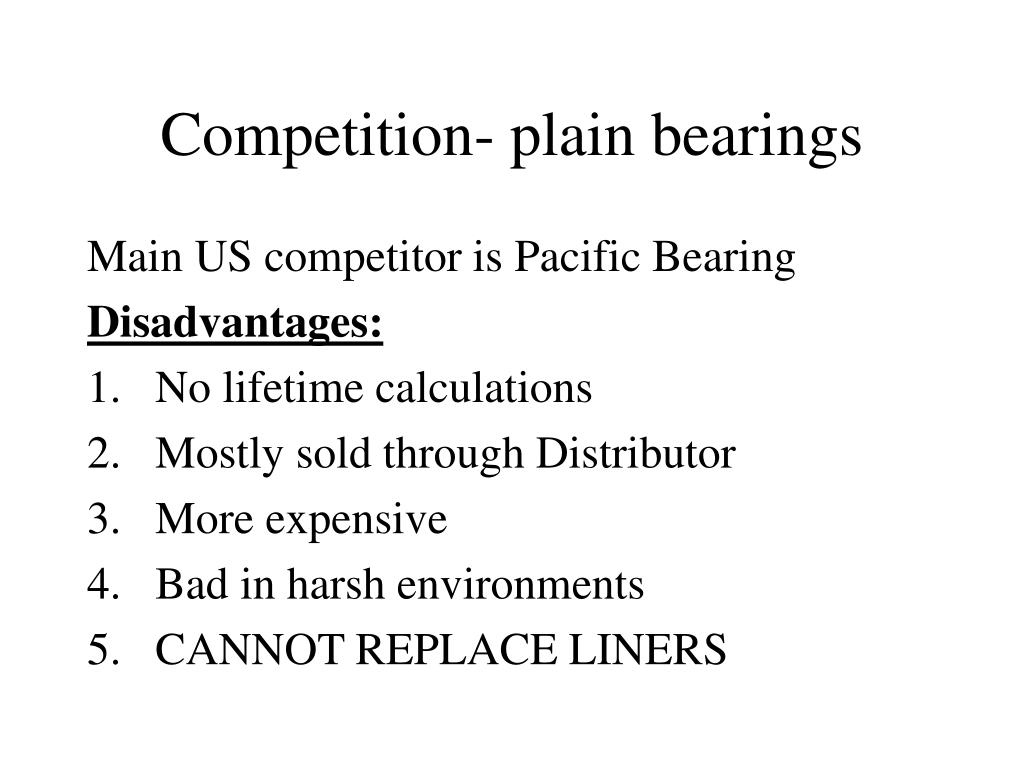 Competition- plain bearings