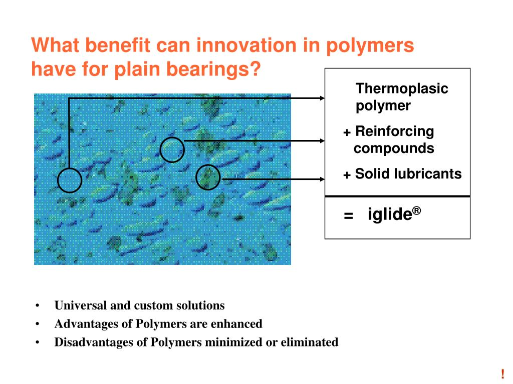What benefit can innovation in polymers have for plain bearings?