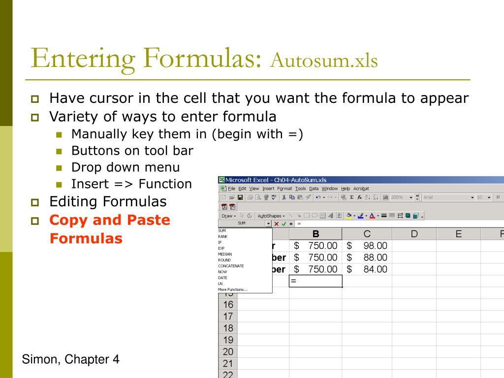 Entering Formulas: