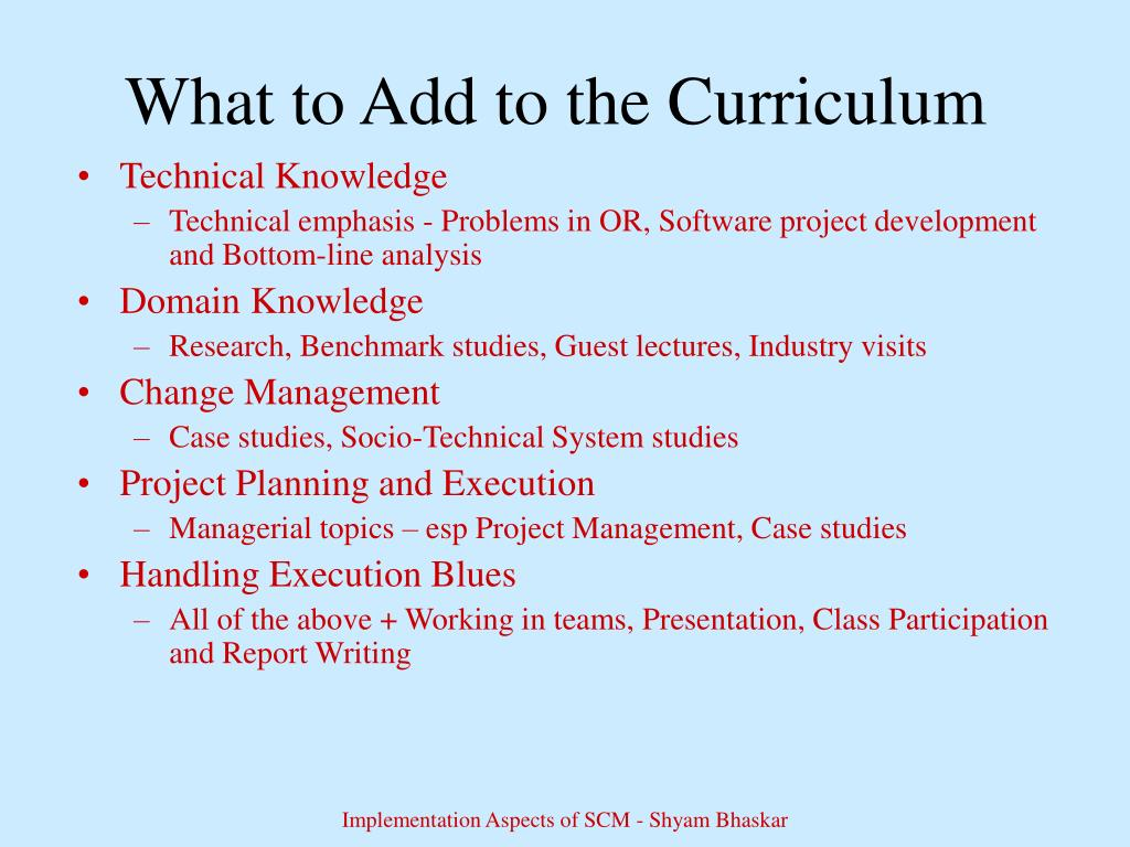 What to Add to the Curriculum