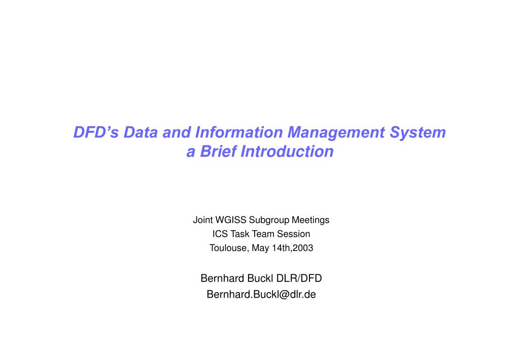 DFD's Data and Information Management System