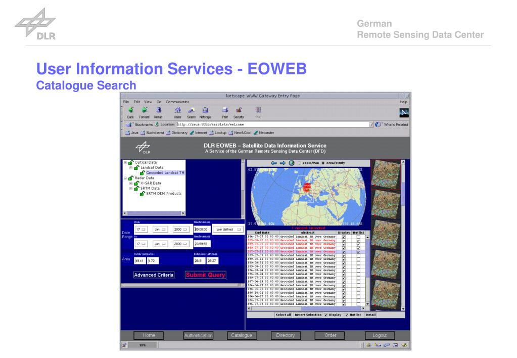 User Information Services - EOWEB