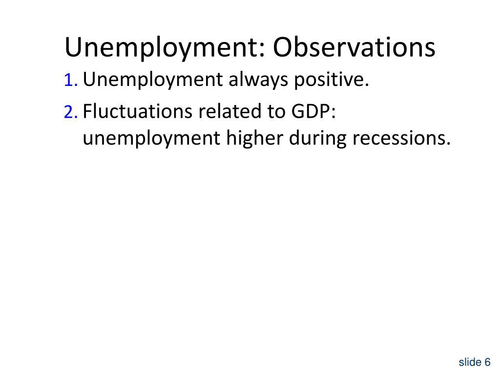 Unemployment: Observations
