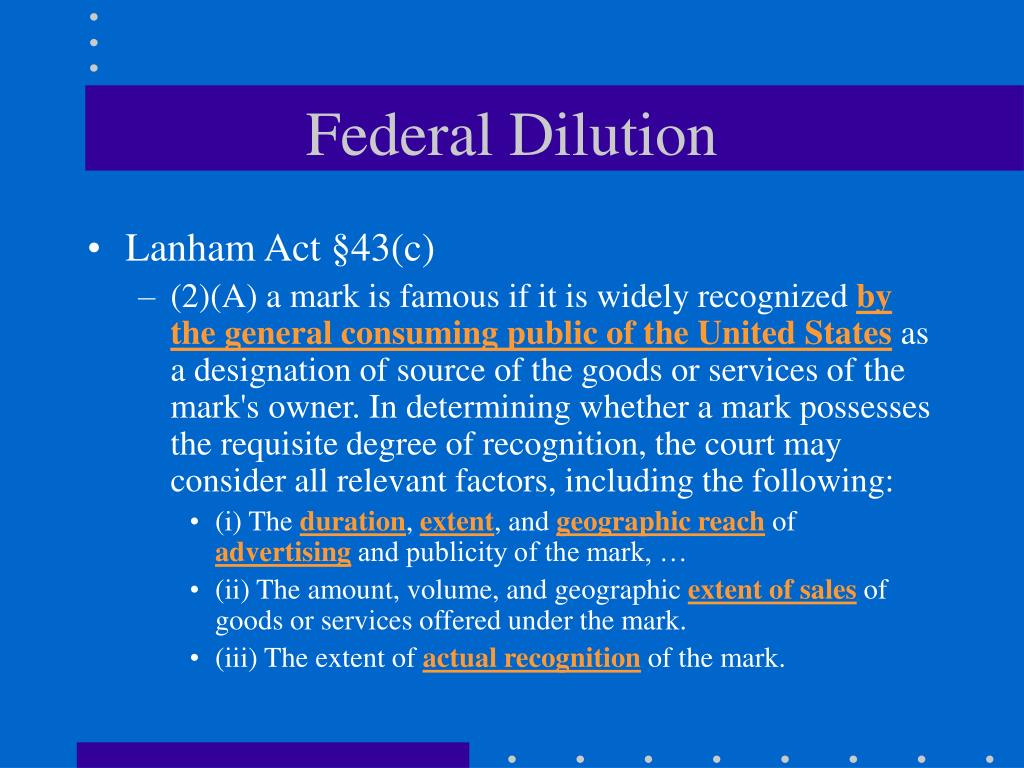 Federal Dilution