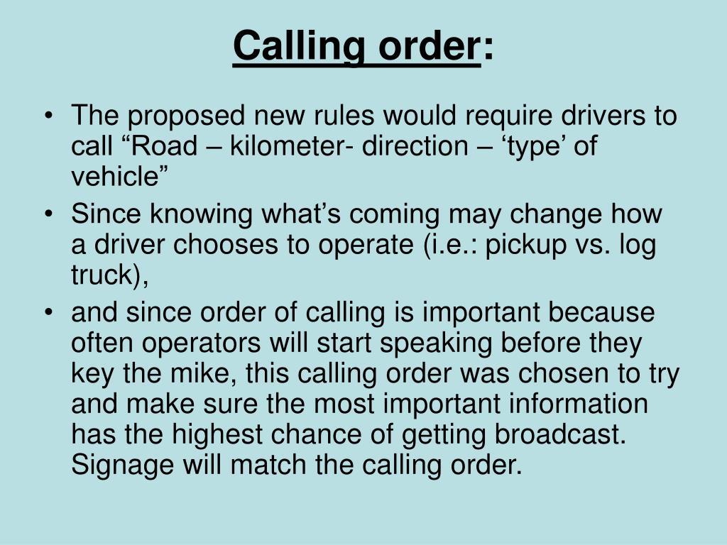 Calling order