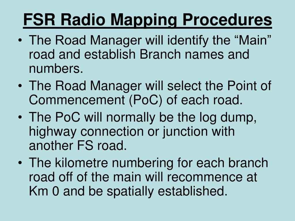 FSR Radio Mapping Procedures