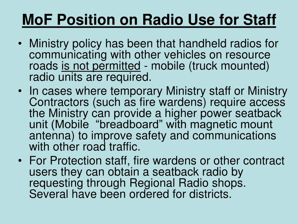 MoF Position on Radio Use for Staff