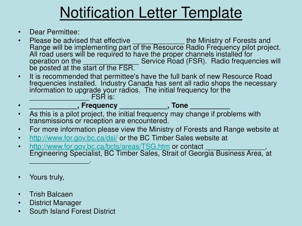 Notification Letter Template
