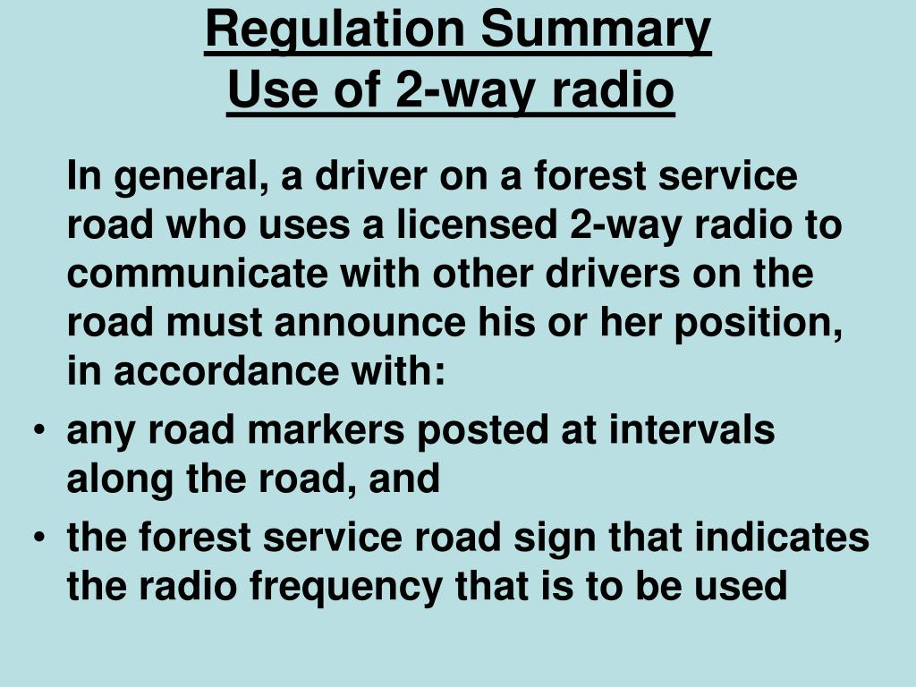 Regulation Summary