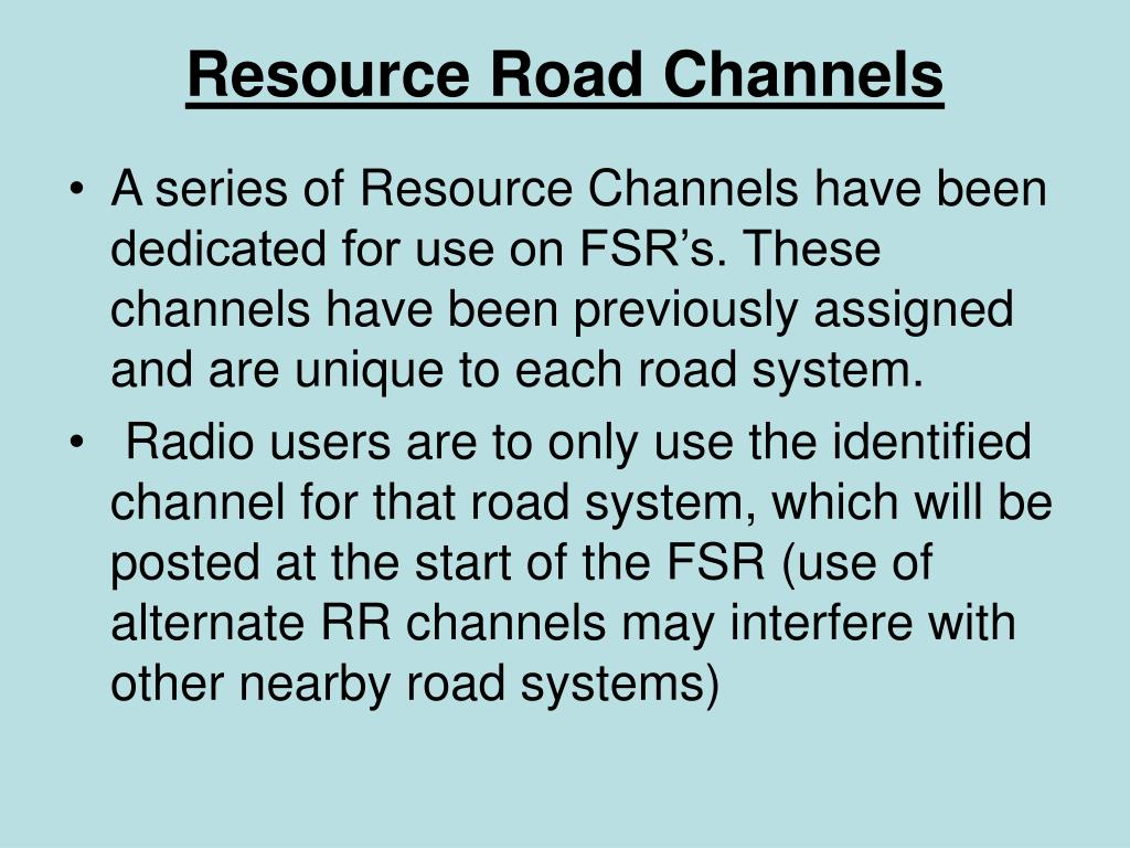 Resource Road Channels