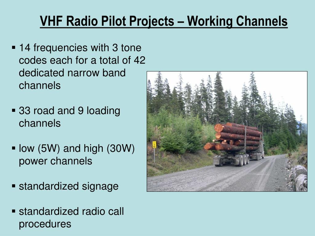 VHF Radio Pilot Projects – Working Channels