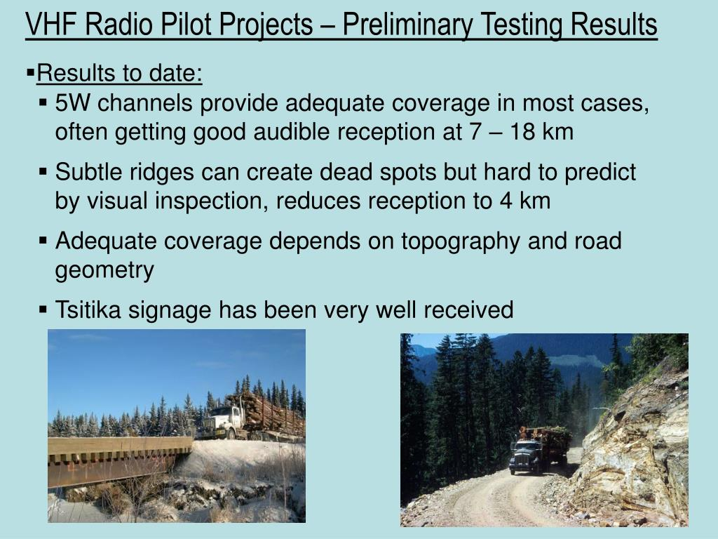 VHF Radio Pilot Projects – Preliminary Testing Results