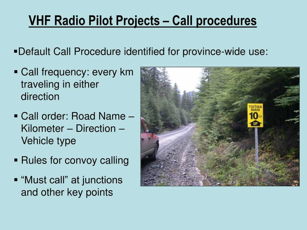 VHF Radio Pilot Projects – Call procedures