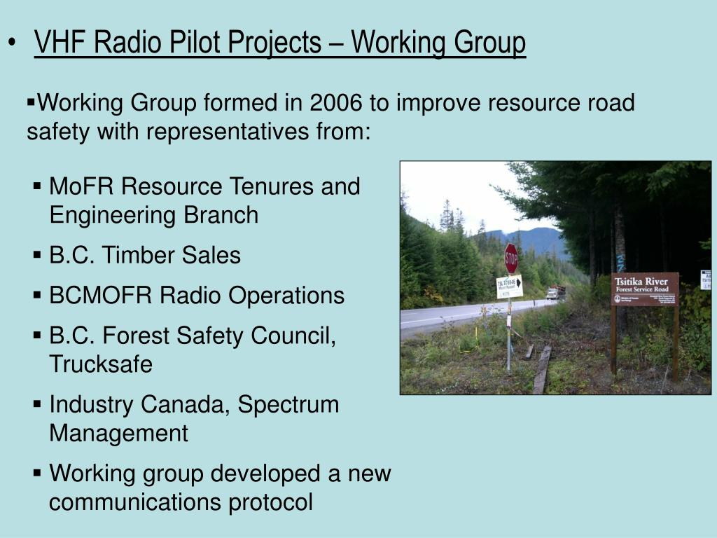 VHF Radio Pilot Projects – Working Group