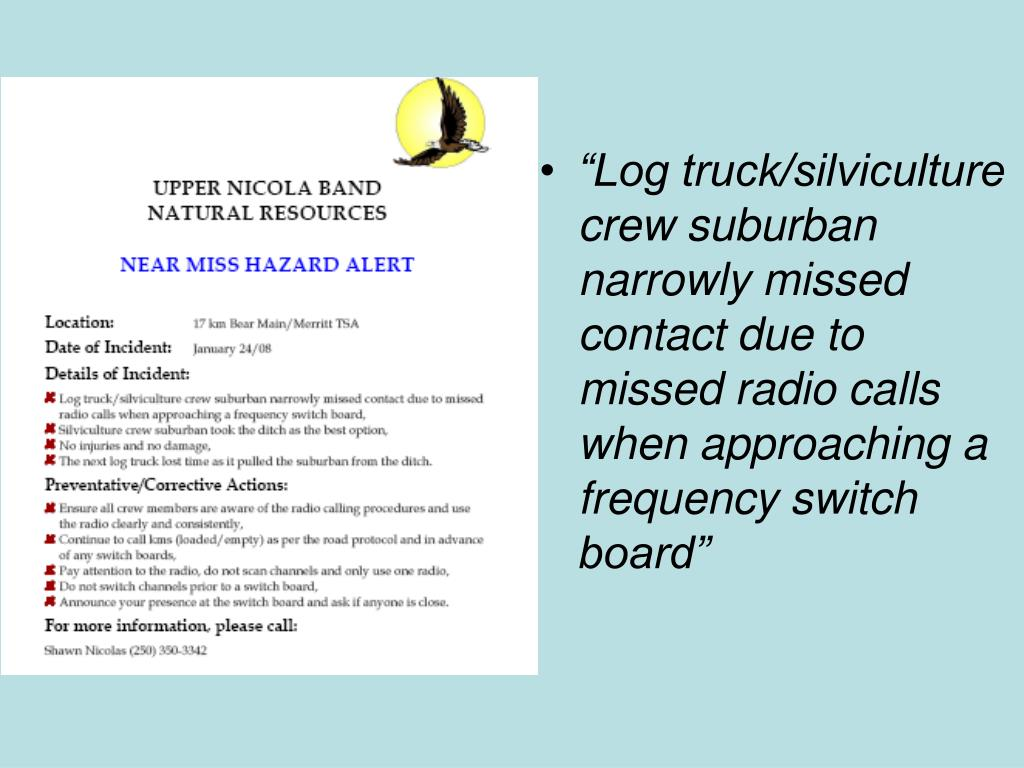 """Log truck/silviculture crew suburban narrowly missed contact due to missed radio calls when approaching a frequency switch board"""