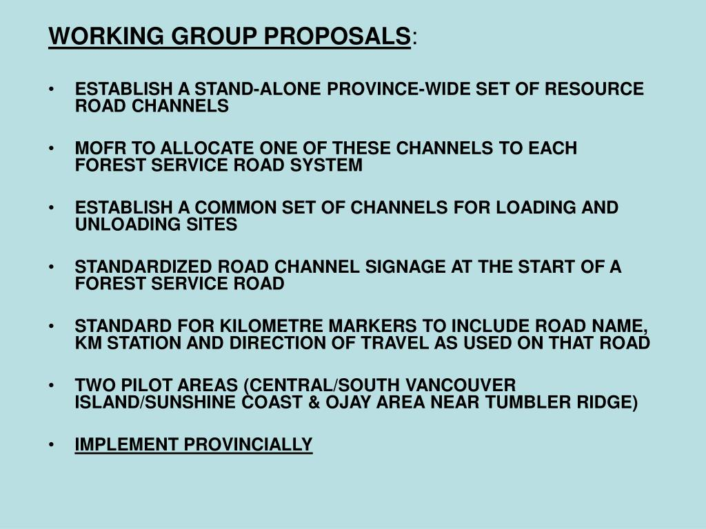 WORKING GROUP PROPOSALS